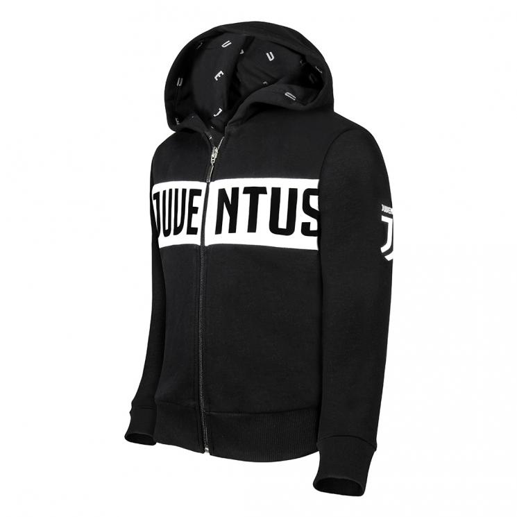 new styles 55b8f d6e22 JUVENTUS BLACK FULL ZIP HOODIE - KIDS