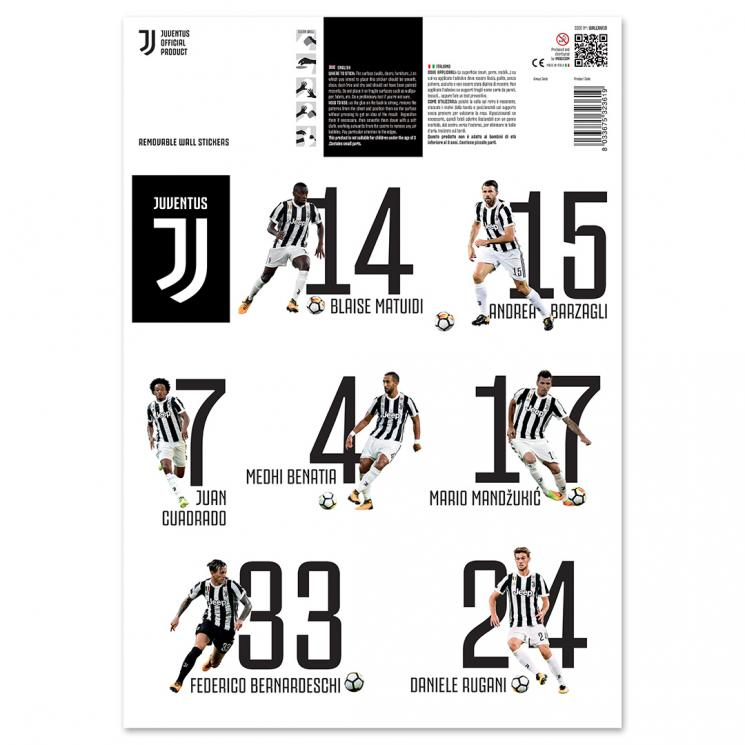 Juventus 16 players wall stickers ≮ ≯