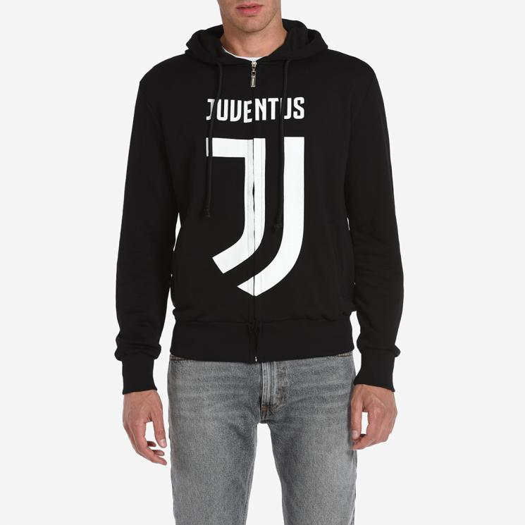 new concept 2ad91 8845a JUVENTUS BLACK LOGO FULL ZIP HOODIE TOP