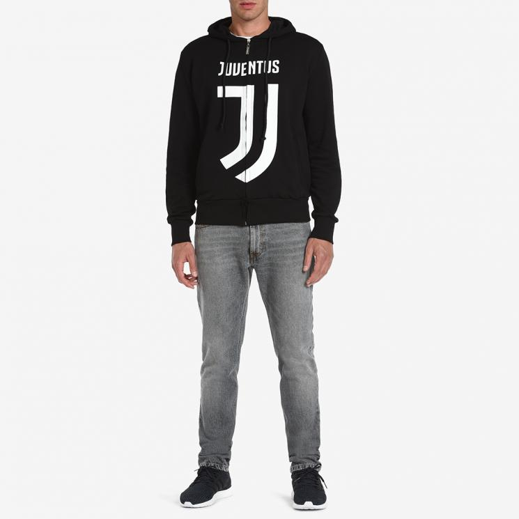 shop best sellers great fit store JUVENTUS BLACK LOGO FULL ZIP HOODIE TOP